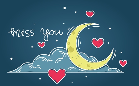 Doodle illustration with the moon and cloud and hearts around, and a phrase Miss You 向量圖像