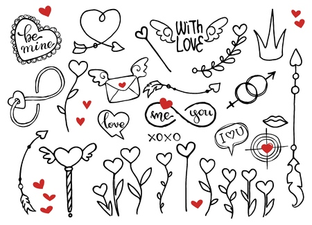 Rough doodle vector elements for Valentines day