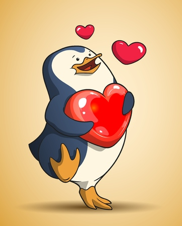 Cute penguin is walking holding a heart in his wings