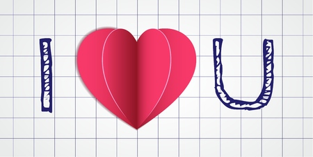 heart shape in a paper cut style with a shadows lays on a sheet of a copybook