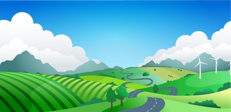 Hilly landscape with far mountains and clouds, vector illustration Illustration