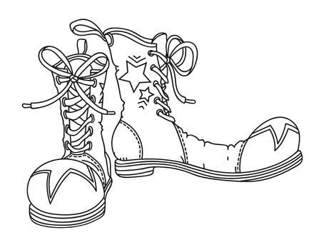 Zapatos de payaso, Ilustración de vector de contorno dibujado a mano Ilustración de vector