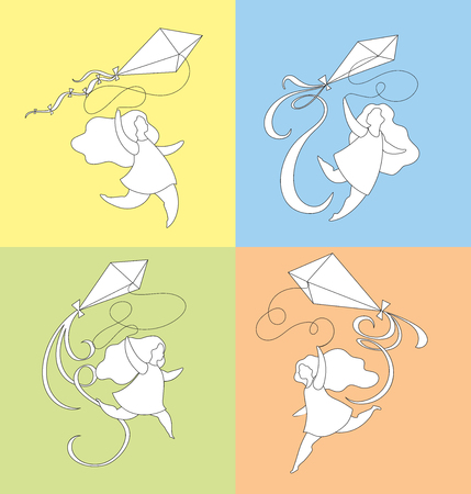 girl running holding a kite, summer activities, set of four outline cartoon illustrations Stock Photo