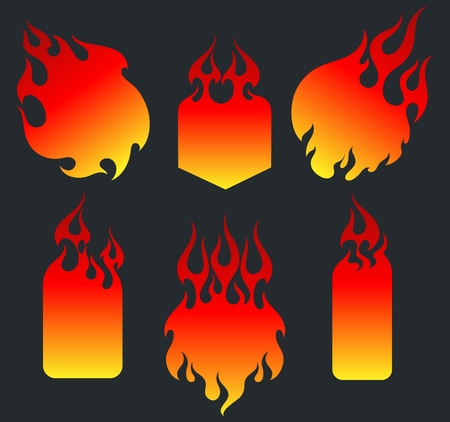 Old school red flame background elements set