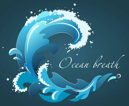 hand drawn ocean wave with foam, drops and splashes, isolated vector illustration Çizim