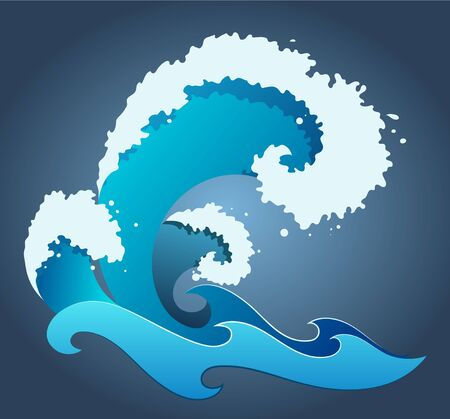 a blue vector wave with foam, drops and splashes Illustration