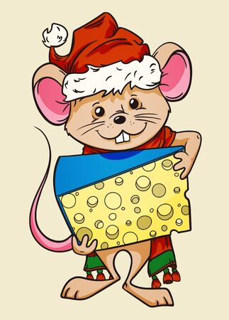 Cartoon mouse wearing xmas hat and scarf holding a piece of cheese, hand drawn vector illustration