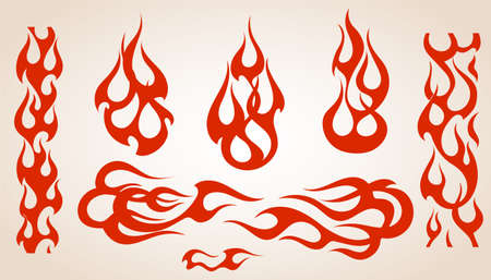 Red flame elements set, vector illustration