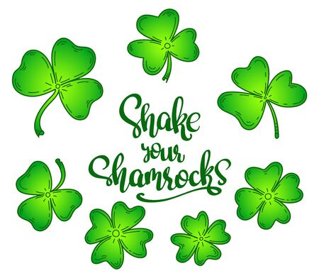 Vector illustration set with 7 different clover leaves for St Patrick day