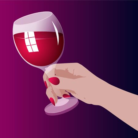 A woman's hand holding a glass of red wine, color vector illustration Illustration