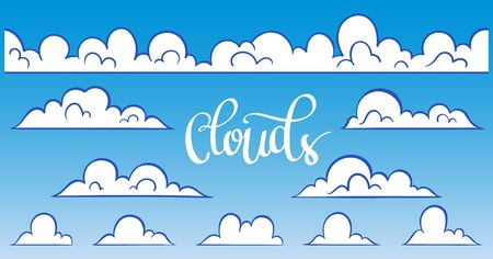 Set for blue sky, different clouds. Hand drawn graphic vector elements