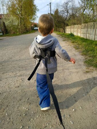 2 year old toddler baby boy tethered on a leash runs on the way
