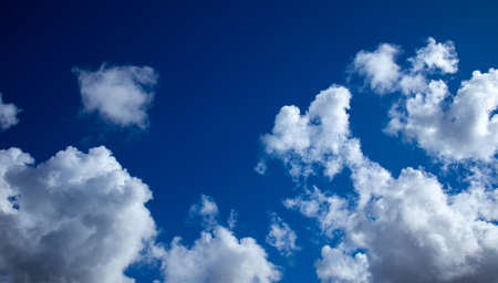 deep blue sky with clouds, cloudy skyscape background photo