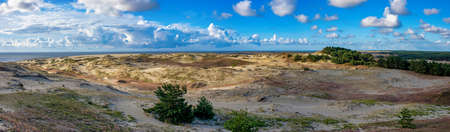 Panorama of sand dunes and blue sky in a summer morning, the Ephas Height