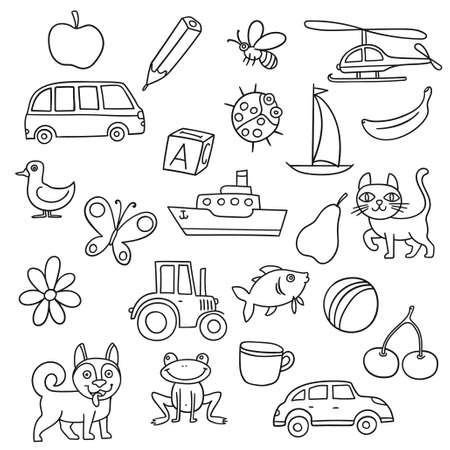 Vector illustration set with different hand drawn items for kids first education