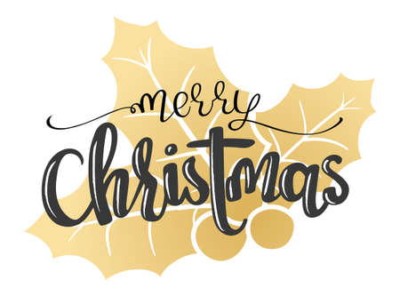 hand written vector lettering Merry Christmas