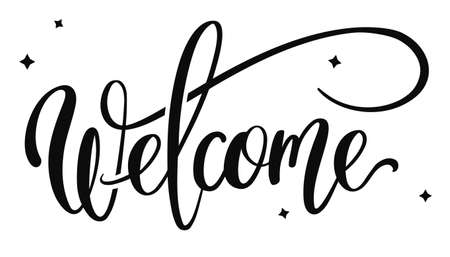 Hand drawn vector lettering - Welcome - Illustration
