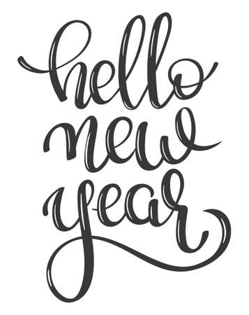 hand lettering vector words Hello New Year