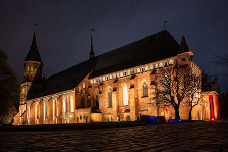 Brick Gothic style Cathedral at night, side view.