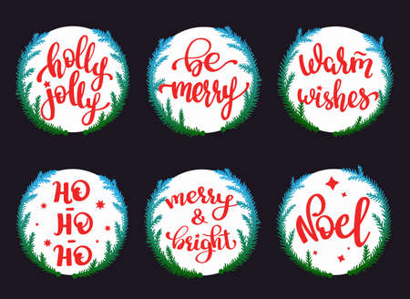 Set of round Christmas stickers with festive lettering