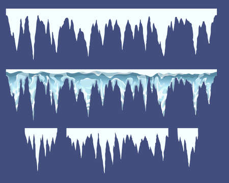 bars of icicles, elements for endless borders, vector illustration