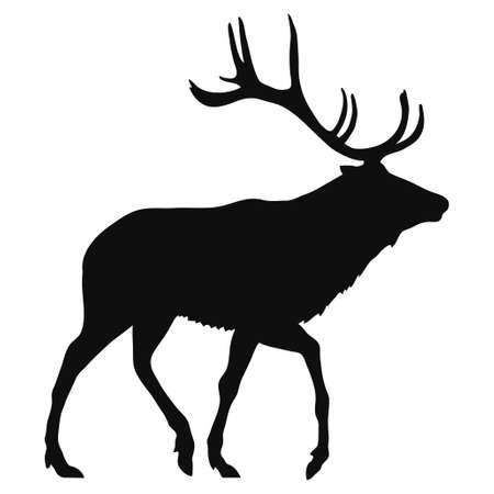 black silhouette of a deer on a white background
