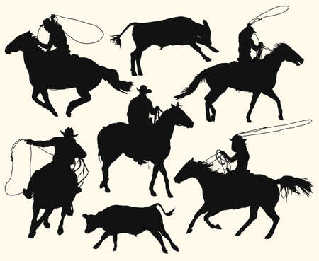 cowboys with lasso riding a horse at the rodeo Illustration