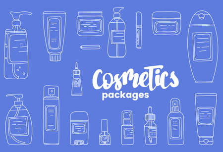 Hand drawn illustration set with containers for various cosmetics
