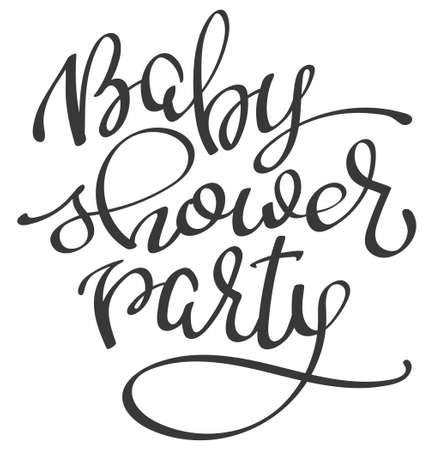 Handwritten lettering words Baby Shower Party, vector illustration