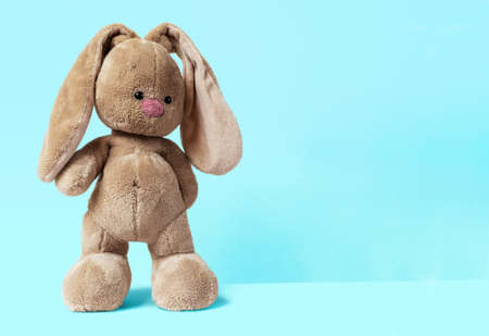 The soft toy bunny stays on a bright blue background