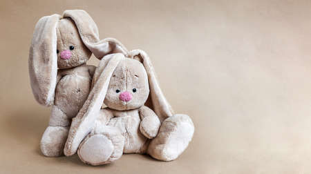 Two soft toys hares together on a bright brown background Banque d'images - 163968729
