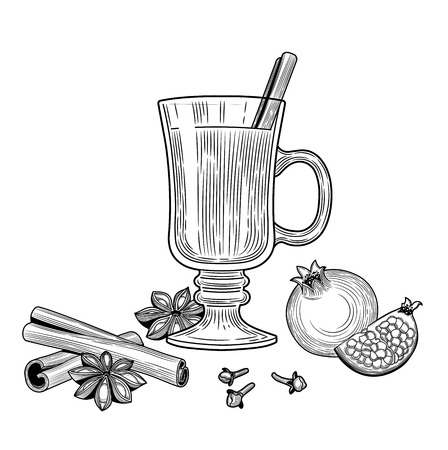 Mulled wine. Winter drink. Christmas. The individual ingredients. Starlet anise, cinnamon sticks, pomegranate, wine, cloves. Black and white outline.