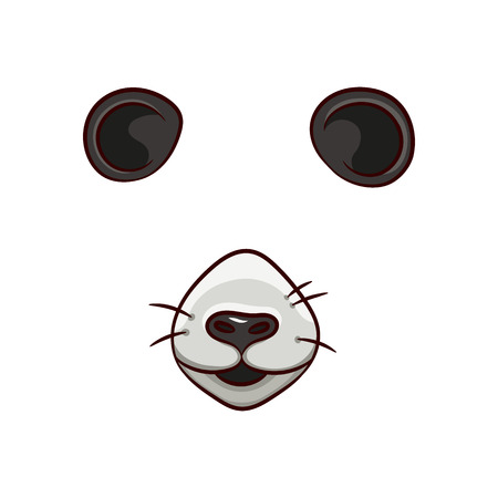 A set of animal face elements. The design of the ear and nose. The Panda mask. Vector illustration. Isolated images on white background.