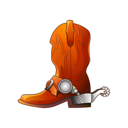 Set of elements of the Wild West. The equipment of cowboys. Boots with spurs. Vector illustration. Isolated images on white background.