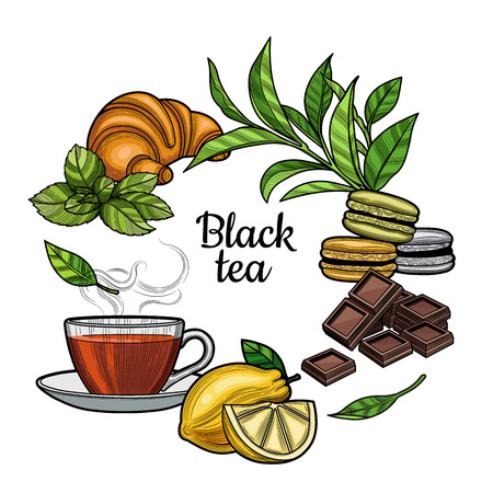 Black tea. A Cup of tea, a hot drink. Branch with leaves, lemon, a piece of lemon, croissant, macaroons, chocolate, mint. Illustration. The isolated image on a white background. Vintage style.