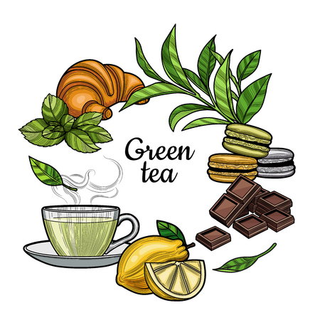 Green tea. A Cup of tea, a hot drink. Branch with leaves, lemon, a piece of lemon, croissant, macaroons, chocolate, mint. Illustration. The isolated image on a white background. Vintage style.