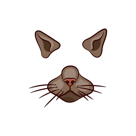 A set of animal face elements. The design of the ear and nose. Mask of a cat. Vector illustration. Isolated images on white background. 向量圖像