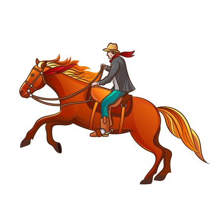 Set of elements of the Wild West. The equipment of cowboys. Cowboy on horse. Vector illustration. Isolated images on white background. 向量圖像