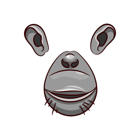 A set of animal face elements. The design of the ear and nose. Chimp mask. Vector illustration. Isolated images on white background.