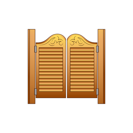 Set of elements of the Wild West. The equipment of cowboys. The door to the saloon. Vector illustration. Isolated images on white background.