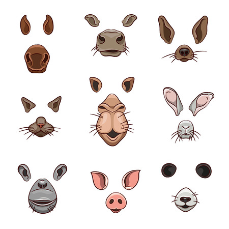 A set of animal face elements. The design of the ear and nose. Mask horse, cow, dog, cat, camel, hare, monkey, pig, Panda. Vector illustration. Isolated images on white background.