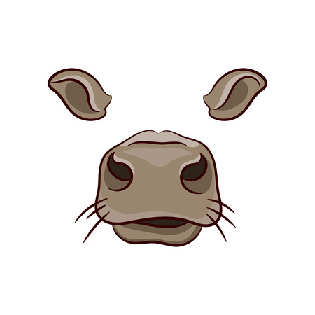 A set of animal face elements. The designer of the ears and nose. Mask of a cow. Vector illustration. Isolated image on white background. Illustration