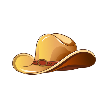 Set of elements of the Wild West. The equipment of cowboys. Cowboy hat. Vector illustration. Isolated images on white background. Illustration