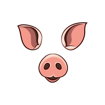 A set of animal face elements. The design of the ear and nose. The pig mask. Vector illustration. Isolated images on white background. 向量圖像