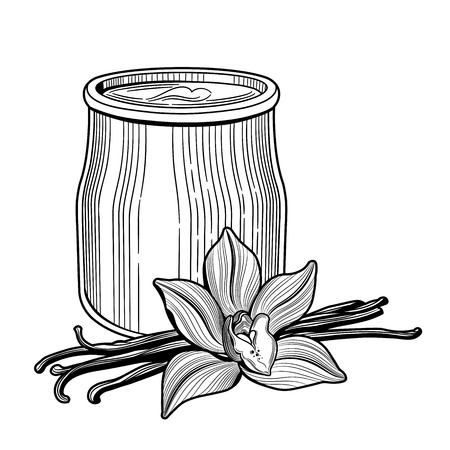 Yogurt in a glass jar. The flower of vanilla. Healthy, natural delicious Breakfast. Vector illustration. Vintage style.