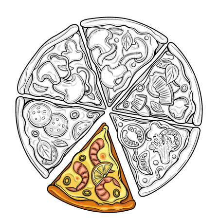 Slices of pizza. Margarita, pepperoni, vegetarian. Tomatoes, broccoli, peas, cheese, mushrooms, shrimp. Illustration. Isolated images on white background. Vintage style. 向量圖像