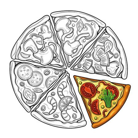 Plakjes pizza. Margarita, peperoni, vegetarisch. Tomaten, broccoli, erwten, kaas, champignons, garnalen. Illustratie. Geïsoleerde beelden op witte achtergrond. Vintage-stijl. Vector Illustratie