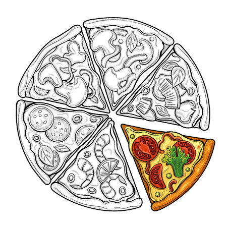 Slices of pizza. Margarita, pepperoni, vegetarian. Tomatoes, broccoli, peas, cheese, mushrooms, shrimp. Illustration. Isolated images on white background. Vintage style. Çizim