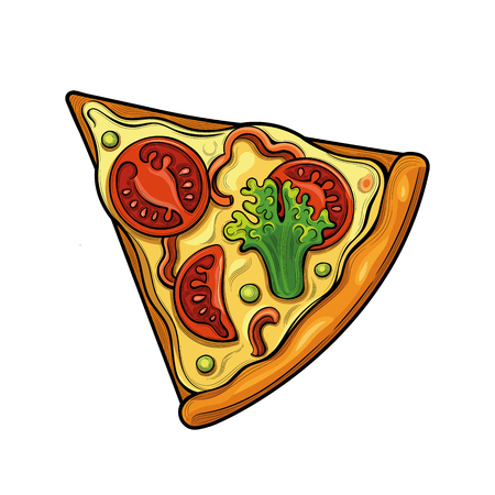 Slice of pizza. Tomatoes, broccoli, peas, cheese. Illustration. Isolated images on white background. Vintage style.