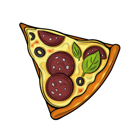 Slice of pizza. Sausage, olives, cheese. Illustration. Isolated images on white background. Vintage style. 向量圖像